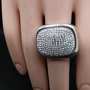 Chunky Sterling Ring With Pavé Crystals Sz9